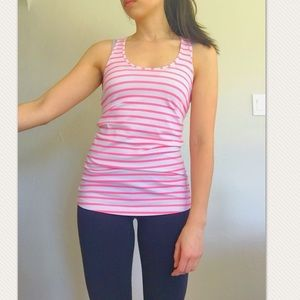 Lululemon Pink and white racerback tank size 6
